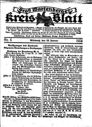 Groß-Wartenberger Kreisblatt vom 23.01.1924