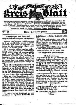 Groß-Wartenberger Kreisblatt vom 30.01.1924
