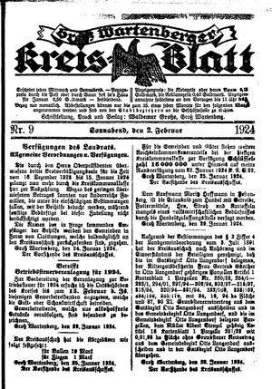 Groß-Wartenberger Kreisblatt vom 02.02.1924