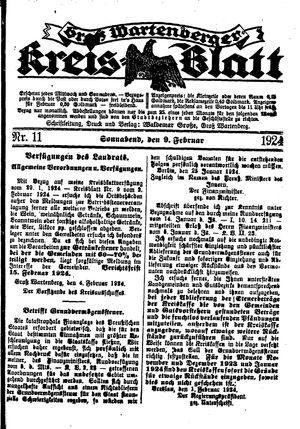 Groß-Wartenberger Kreisblatt vom 09.02.1924