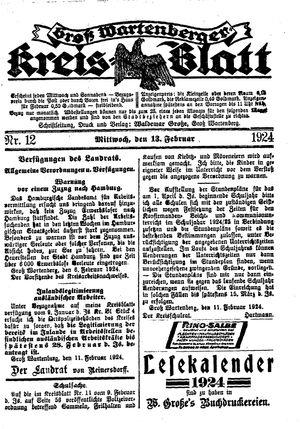 Groß-Wartenberger Kreisblatt vom 13.02.1924