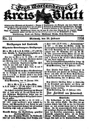 Groß-Wartenberger Kreisblatt vom 20.02.1924