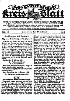 Groß-Wartenberger Kreisblatt vom 23.02.1924