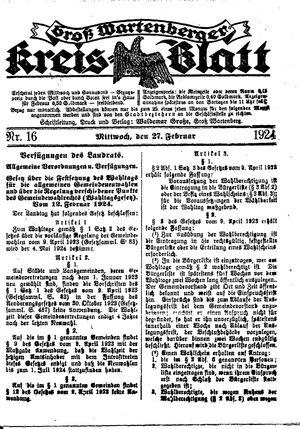 Groß-Wartenberger Kreisblatt vom 27.02.1924