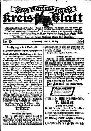 Groß-Wartenberger Kreisblatt vom 05.03.1924