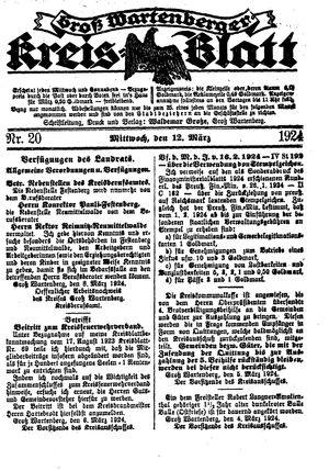 Groß-Wartenberger Kreisblatt vom 12.03.1924
