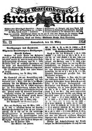Groß-Wartenberger Kreisblatt vom 15.03.1924