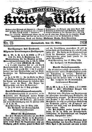 Groß-Wartenberger Kreisblatt on Mar 22, 1924