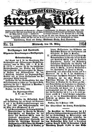 Groß-Wartenberger Kreisblatt vom 26.03.1924