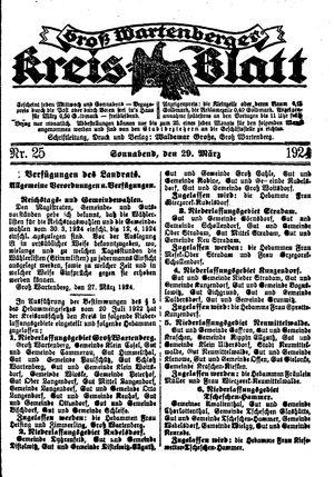 Groß-Wartenberger Kreisblatt vom 29.03.1924