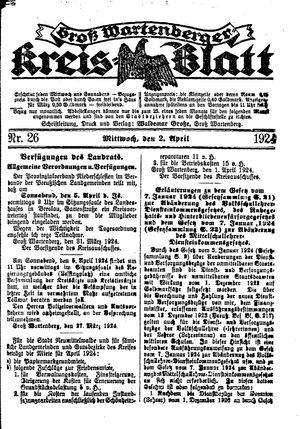 Groß-Wartenberger Kreisblatt vom 02.04.1924