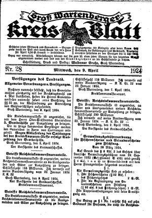 Groß-Wartenberger Kreisblatt vom 09.04.1924