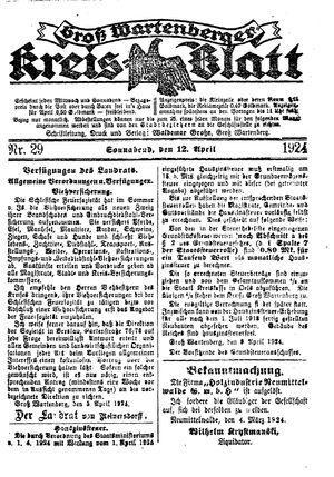 Groß-Wartenberger Kreisblatt vom 12.04.1924