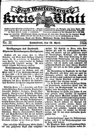 Groß-Wartenberger Kreisblatt on Apr 19, 1924