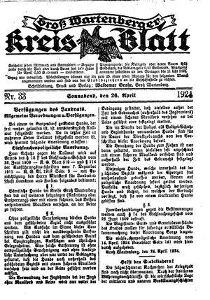 Groß-Wartenberger Kreisblatt vom 26.04.1924
