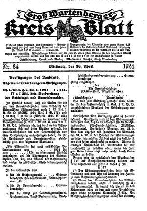 Groß-Wartenberger Kreisblatt vom 30.04.1924