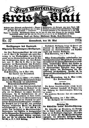 Groß-Wartenberger Kreisblatt vom 10.05.1924