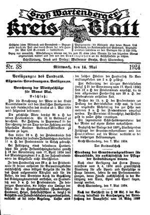 Groß-Wartenberger Kreisblatt vom 14.05.1924