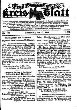 Groß-Wartenberger Kreisblatt vom 17.05.1924