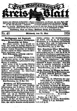 Groß-Wartenberger Kreisblatt vom 21.05.1924