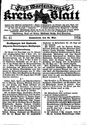 Groß-Wartenberger Kreisblatt vom 24.05.1924