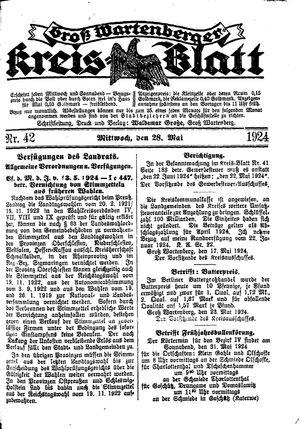 Groß-Wartenberger Kreisblatt vom 28.05.1924