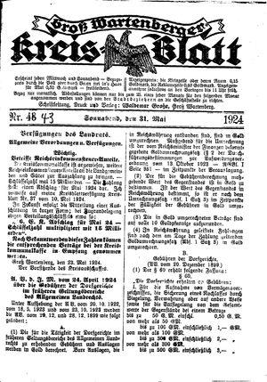 Groß-Wartenberger Kreisblatt vom 31.05.1924