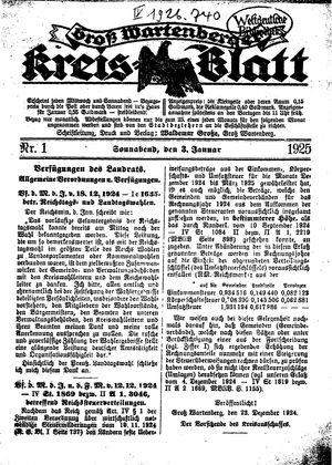 Groß-Wartenberger Kreisblatt vom 03.01.1925