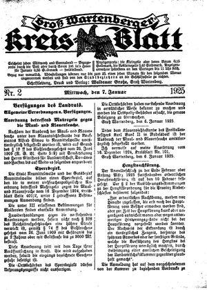 Groß-Wartenberger Kreisblatt vom 07.01.1925