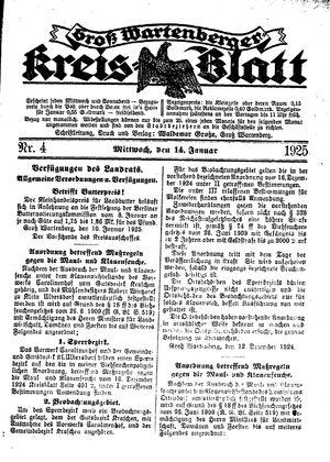Groß-Wartenberger Kreisblatt vom 14.01.1925