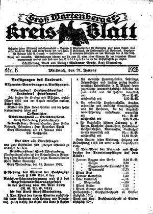 Groß-Wartenberger Kreisblatt vom 21.01.1925