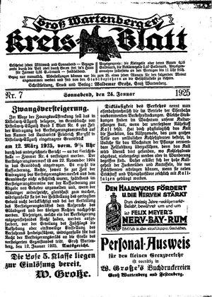 Groß-Wartenberger Kreisblatt vom 24.01.1925