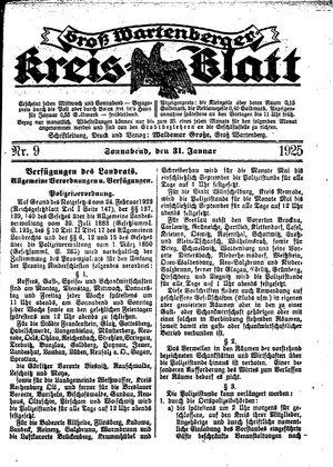 Groß-Wartenberger Kreisblatt vom 31.01.1925