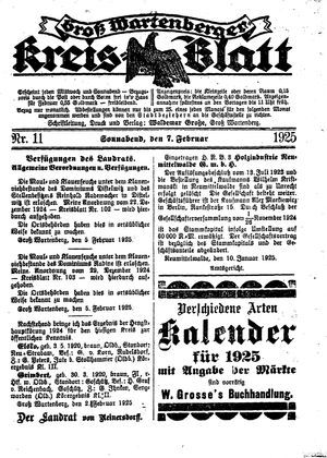 Groß-Wartenberger Kreisblatt vom 07.02.1925