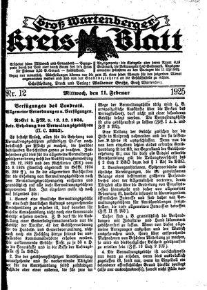 Groß-Wartenberger Kreisblatt vom 11.02.1925