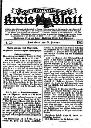 Groß-Wartenberger Kreisblatt vom 21.02.1925