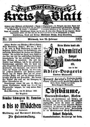 Groß-Wartenberger Kreisblatt vom 25.02.1925