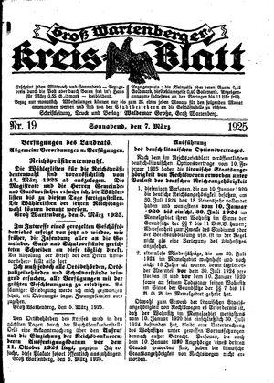Groß-Wartenberger Kreisblatt vom 07.03.1925