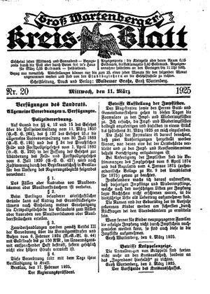Groß-Wartenberger Kreisblatt on Mar 11, 1925