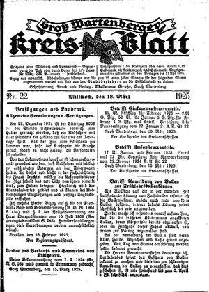 Groß-Wartenberger Kreisblatt vom 18.03.1925