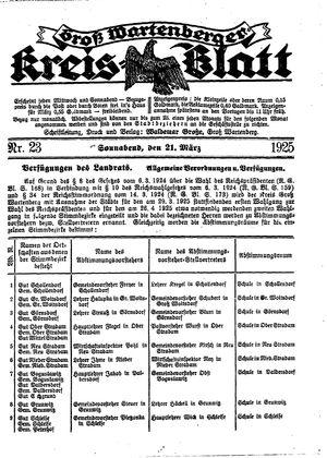 Groß-Wartenberger Kreisblatt on Mar 21, 1925