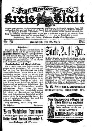 Groß-Wartenberger Kreisblatt vom 28.03.1925
