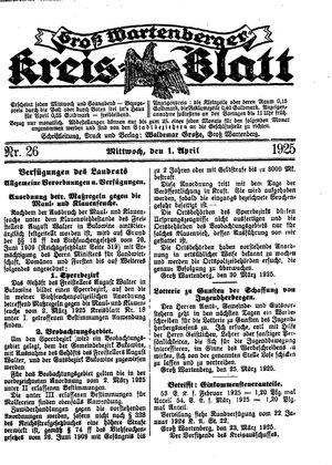 Groß-Wartenberger Kreisblatt vom 01.04.1925