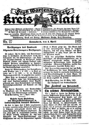 Groß-Wartenberger Kreisblatt on Apr 4, 1925