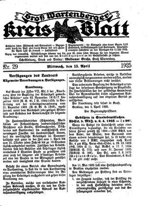 Groß-Wartenberger Kreisblatt vom 15.04.1925