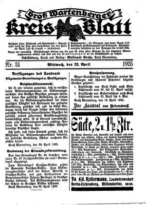 Groß-Wartenberger Kreisblatt vom 22.04.1925