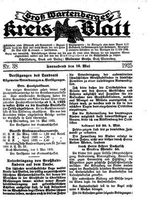 Groß-Wartenberger Kreisblatt vom 16.05.1925