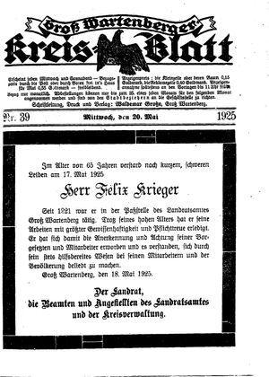 Groß-Wartenberger Kreisblatt on May 20, 1925