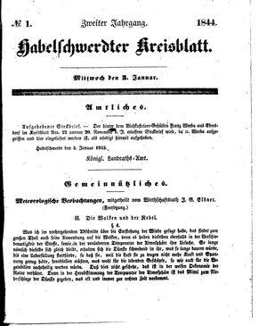 Habelschwerdter Kreisblatt vom 03.01.1844