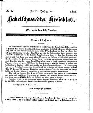 Habelschwerdter Kreisblatt vom 10.01.1844